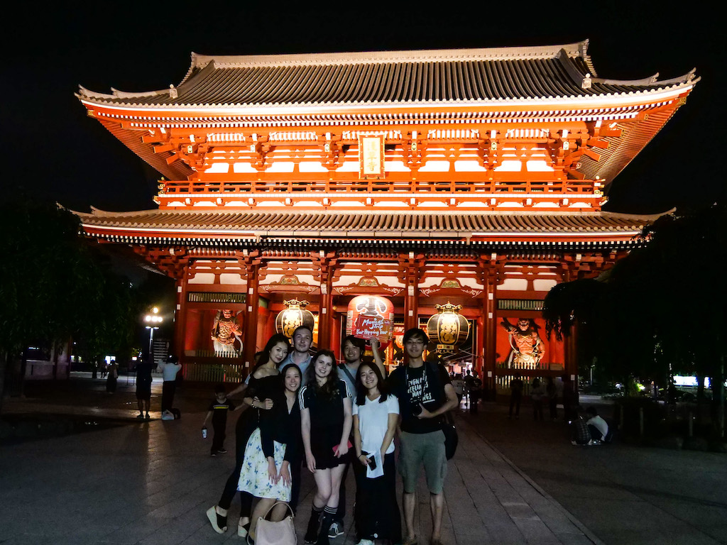 Stolling through atmospheric Senso-ji at night