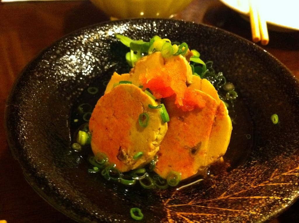 Boiled Monkfish liver is served with a sour sauce(Ponzu). Once you taste it, you never forget its awesome flavor.