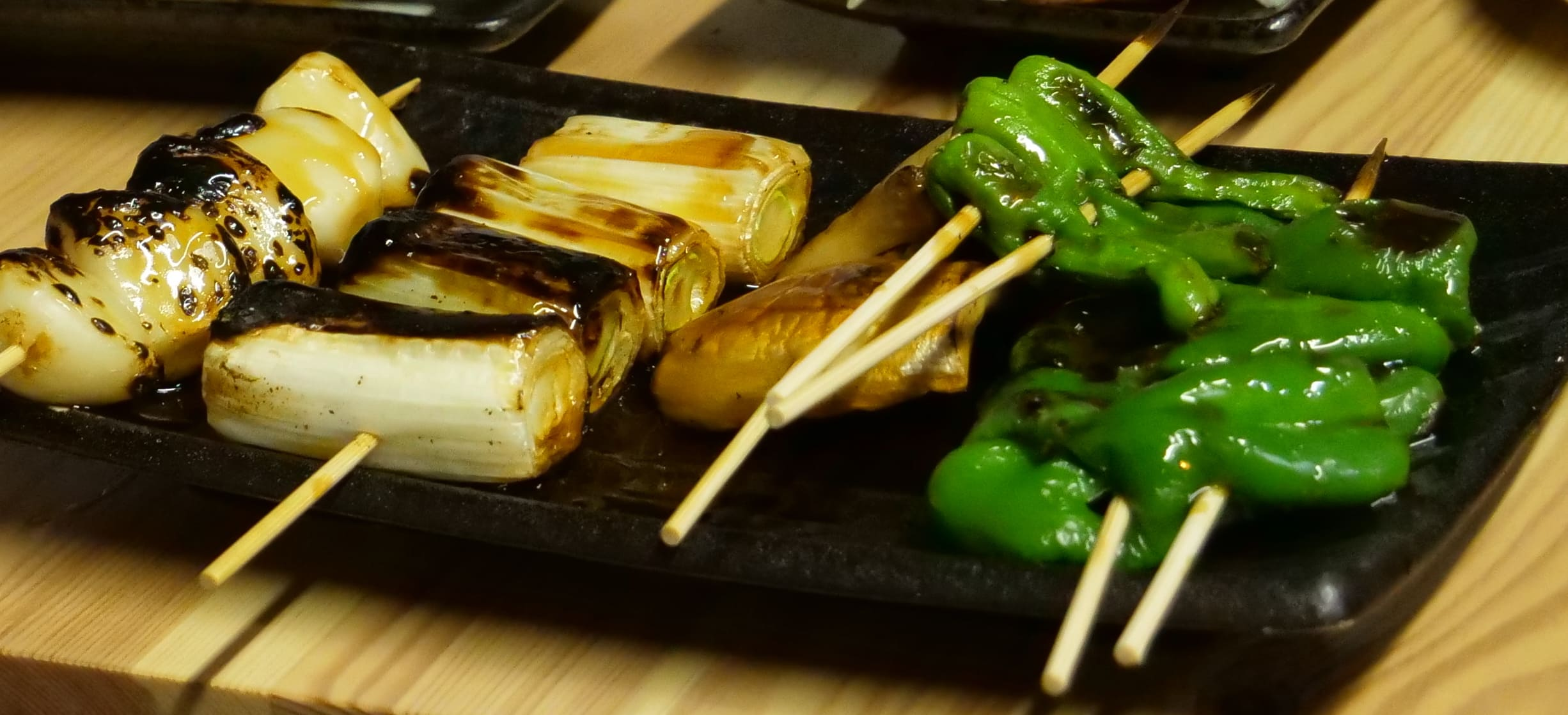 Grilled vegetables Yakitori. You can enjoy authentic plumped tastes of vegetables.